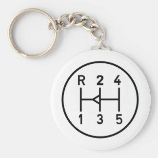 Sports car gear knob, transmission shift pattern basic round button key ring