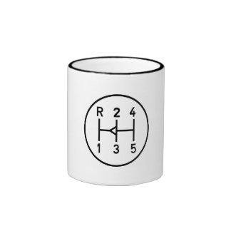 Sports car gear knob, transmission shift pattern ringer coffee mug