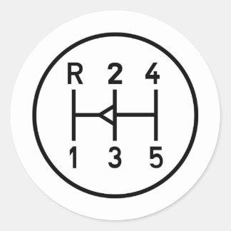 Sports car gear knob, transmission shift pattern round sticker