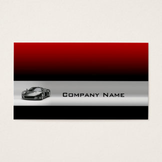 Sports Car In A Grey Line & Red Background Card