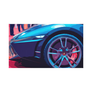 Sports Car Luxury Wheels in a Simple Design Canvas