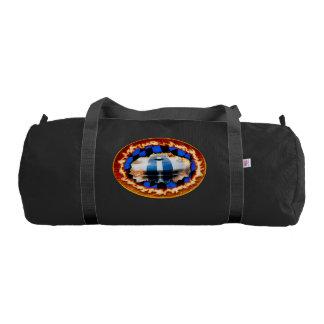 Sports car racing through the checkered flag gym duffel bag