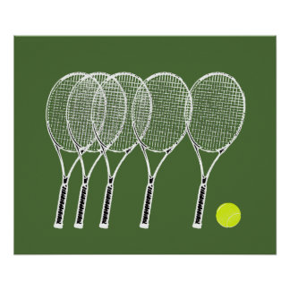 sports decor tennis racquets with ball poster