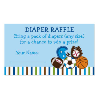 Sports Diaper Raffle Tickets Pack Of Standard Business Cards
