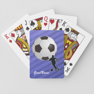 Sports Enthusiast Soccer, personalize with name Playing Cards