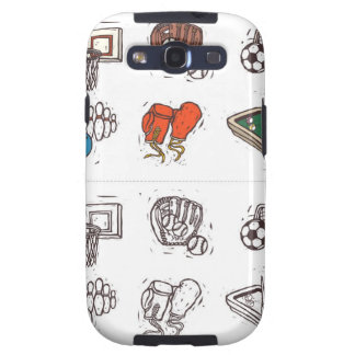 Sports equipment displayed against white galaxy SIII covers