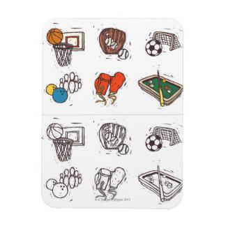 Sports equipment displayed against white rectangular photo magnet