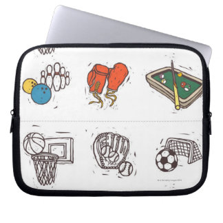 Sports equipment displayed against white laptop sleeve