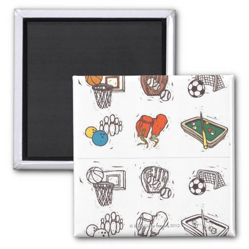 Sports equipment displayed against white refrigerator magnets