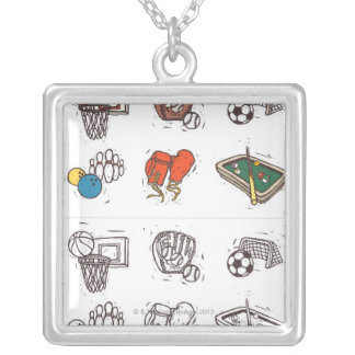 Sports equipment displayed against white silver plated necklace