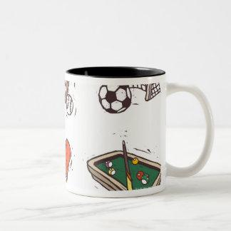 Sports equipment displayed against white Two-Tone coffee mug
