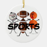 Sports Fan Cartoon Double-Sided Ceramic Round Christmas Ornament