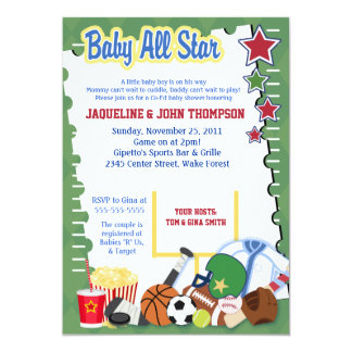 SPORTS FAN FOOTBALL STAR Baby Shower Invitation