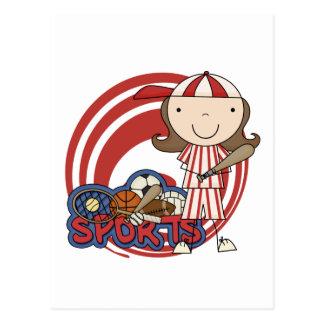 Sports Girl Baseball Tshirts and Gifts Postcards