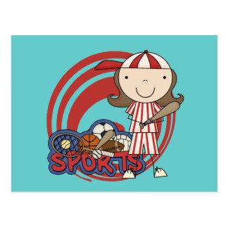 Sports Girl Baseball Tshirts and Gifts Postcard