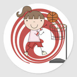 Sports Girl - Basketball Tshirts and Gifts Round Sticker