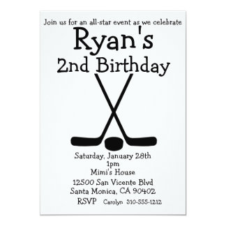 Sports Hockey Birthday Ice Hockey Invitations