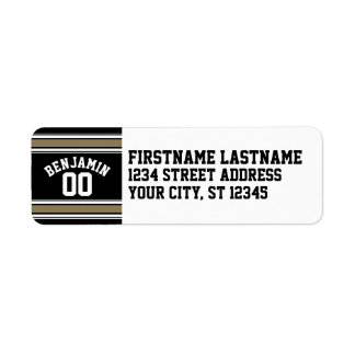 Sports Jersey Black and Gold Stripes Name Number