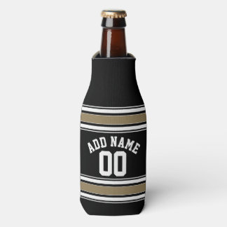 Sports Jersey Black and Gold Stripes Name Number Bottle Cooler