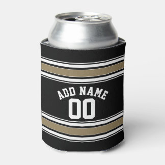 Sports Jersey Black and Gold Stripes Name Number Can Cooler
