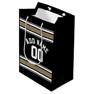 Sports Jersey Black and Gold Stripes Name Number Medium Gift Bag