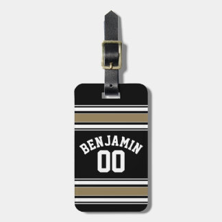 Sports Jersey Black and Gold Stripes Name Number Tag For Bags