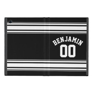 Sports Jersey Black and White Stripes Name Number Cover For iPad Mini