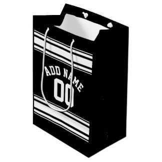 Sports Jersey Black and White Stripes Name Number Medium Gift Bag
