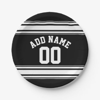 Sports Jersey Black and White Stripes Name Number Paper Plate