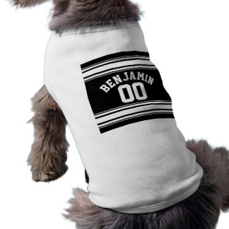Sports Jersey Black and White Stripes Name Number Sleeveless Dog Shirt