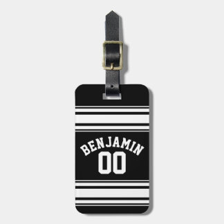 Sports Jersey Black and White Stripes Name Number Tags For Luggage