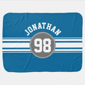 Sports Jersey Blue and Gray Stripes Name Number Baby Blanket