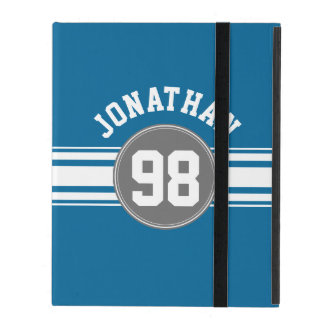 Sports Jersey Blue and Gray Stripes Name Number iPad Folio Case