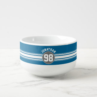 Sports Jersey Blue and Gray Stripes Name Number Soup Mug