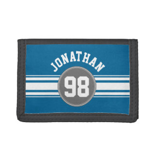 Sports Jersey Blue and Gray Stripes Name Number Trifold Wallet