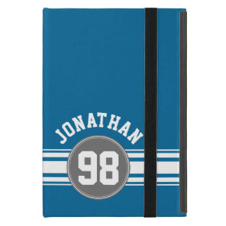 Sports Jersey Blue and Grey Stripes Name Number Covers For iPad Mini