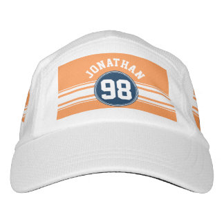 Sports Jersey Blue and Orange Stripes Custom Name Hat