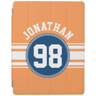 Sports Jersey Blue and Orange Stripes Name Number iPad Cover