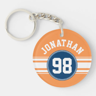Sports Jersey Blue and Orange Stripes Name Number Key Ring