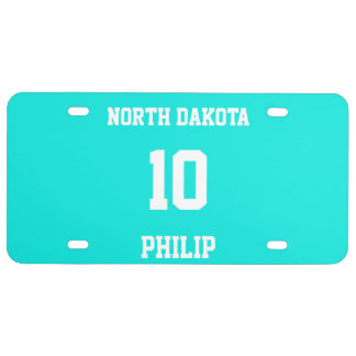 Sports Jersey Customized Bright Turquoise License Plate