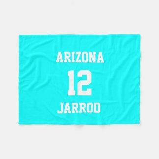 Sports Jersey Customized Electric Cyan Fleece Blanket