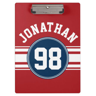 Sports Jersey Navy Blue & Red Stripes Name Number Clipboard
