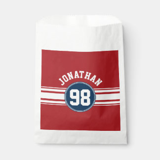 Sports Jersey Navy Blue & Red Stripes Name Number Favour Bags