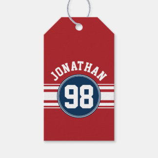 Sports Jersey Navy Blue & Red Stripes Name Number Gift Tags