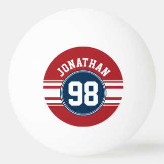 Sports Jersey Navy Blue & Red Stripes Name Number Ping Pong Ball