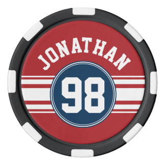 Sports Jersey Navy Blue & Red Stripes Name Number Poker Chips