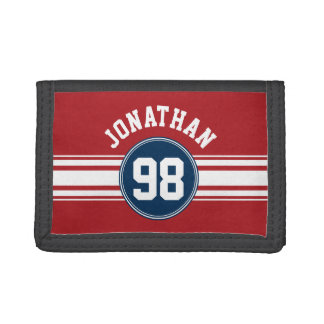 Sports Jersey Navy Blue & Red Stripes Name Number Tri-fold Wallet