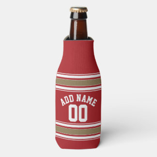 Sports Jersey Red and Gold Stripes Name Number Bottle Cooler