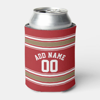 Sports Jersey Red and Gold Stripes Name Number Can Cooler