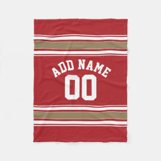 Sports Jersey Red and Gold Stripes Name Number Fleece Blanket